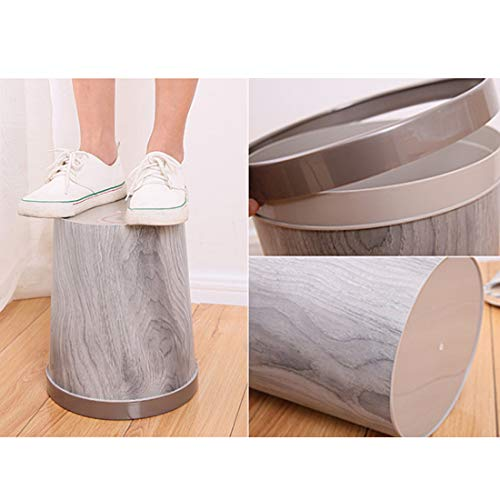 WOLFBUSH 12L Trash Can Durable Garbage Can Waste Basket with Wood-Grain European Style Wastebin for Bathroom, Bedroom, Office (Silver Grey) by WOLFBUSH (Image #5)