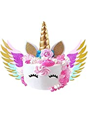 Unicorn Cake Topper with Wings - Unicorn Cake Topper Set with Shiny Gold Horn, Ears, Eyelashes, and Sparkly Colorful Wings - Perfect for Any Birthday Party, Baby Shower, Wedding