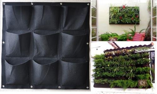 Garden Vertical Planter Multi Pocket Wall Mount Living Growing Bag Felt Indoor/Outdoor Pot, 9-Pocket (3x3)
