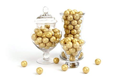 CELEBRATION BY FREY: Shimmer Gold Gumballs - Gluten Free, Kosher & Halal - 2 lbs bag (120 pieces) - Perfect for decoration, weddings, retirements, birthdays, candy buffets, party favors & centerpieces