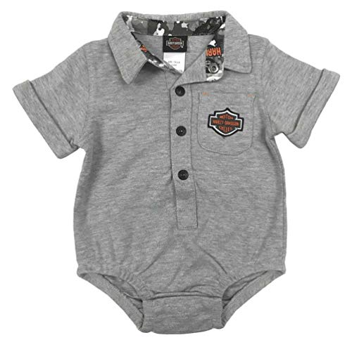 Harley-Davidson Baby Boys' B&S Short Sleeve Knit Creeper - Gray 3051907 (3/6M)