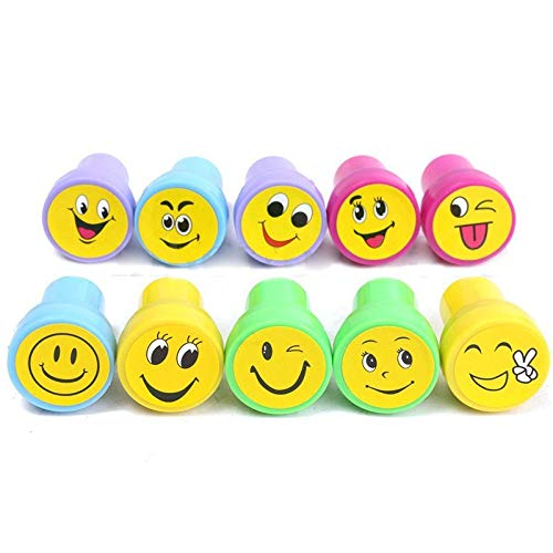 (Green Plastic Bag - 10pcs Emoji Smile Silly Face Stamps Set Stationery Party Loot Bag - Super Business Rubber Making Bulk Boys Japanese Letters Bugs Leather Heart Smiley Toddler A )