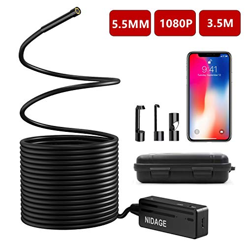 - Wireless Endoscope, NIDAGE 5.5mm 2MP WiFi Borescope 1080P HD Semi-Rigid Snake Camera for iPhone Android, Tablet, Motor Engine Sewer Pipe Vehicle Inspection Camera with Carry Box(11.5FT)
