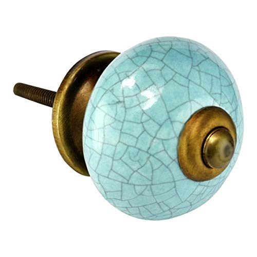 Robin Egg Blue Ceramic Knobs 6pcs C120VF Furniture Dresser Kitchen Cupboard Cabinet Drawer Handles Decor Pulls with Antique Bronze Hardware. by Romantic Decor