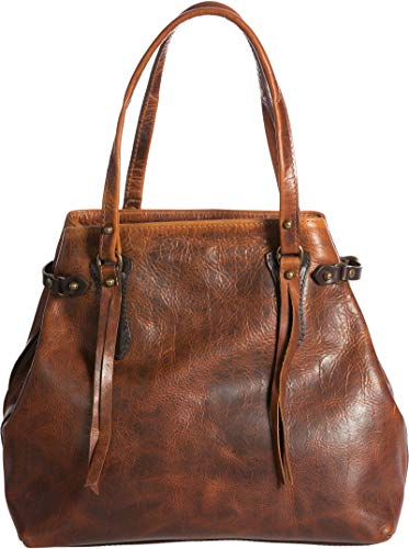 (Santa Fe Bison Leather Tote Bag with Concealed Carry Pocket)