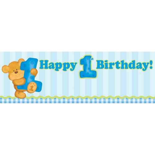 Birthday Message Bear (Giant Party Banner, Blue Bears First Birthday)