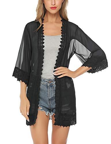 Aibrou Womens Lace Sexy Cotton Deep V Neck Swimsuit Cover up/Beachwear Dress Black