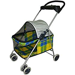 nitipezzo Most Popular Walk Happily Yellow Plaid Posh Dogs Cats Pet Stroller with Cup Holder