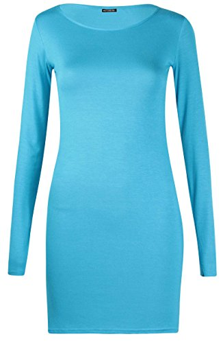 Damen Langärmlig Damen Stretch Bodycon Einfarbig Kleid Lange Tunika T-Shirt  Top - Türkis,