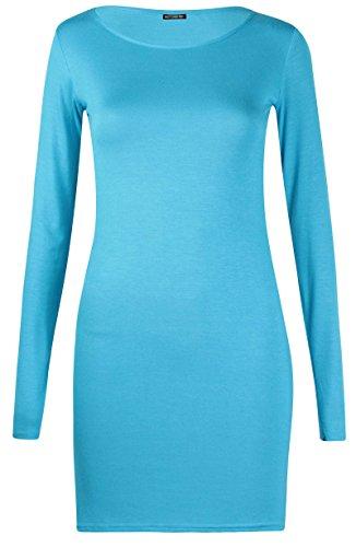 Damen Langärmlig Damen Stretch Bodycon Einfarbig Kleid Lange Tunika T-Shirt Top - Türkis, 36-38