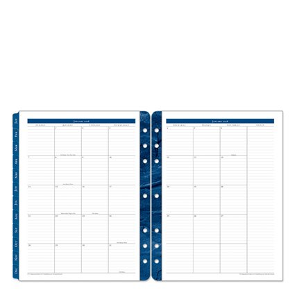 Monarch Monticello Two Page Monthly Ring-bound Tabs - Jan 2018 - Dec 2018 (Monticello Monthly Planner Refills)