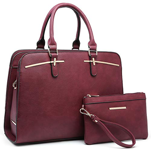 (Women Handbags Satchel Purses Top Handle Work Bag Briefcases Tote Bag With Matching Wallet (3-Burgundy))