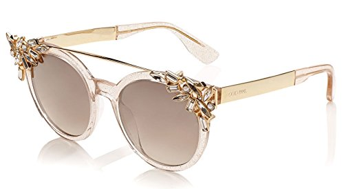Jimmy Choo Vivy 20th Nude Gold Mirror Round Sunglasses Detachable Jewel Clip - Choo Jimmy Limited