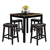 LZ LEISURE ZONE 5-Piece Dining Table Set Kitchen Wooden Top Counter Height Dining Set with 4 Leather-Upholstered Stools (Wood)
