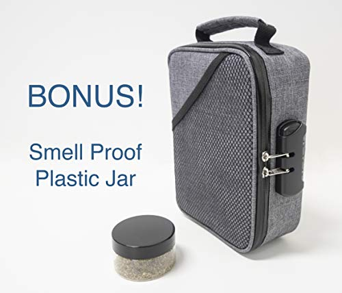 Smell Proof Bags by Hydroflyy - (Secure) Combination Lock and Large Storage Capacity, Keep Your Herb Stash, Jar, Weed, Vapes, Grinder and Rolling Papers in a Safe Place Plus Extra Smell Proof Jar. by Hydroflyy (Image #7)