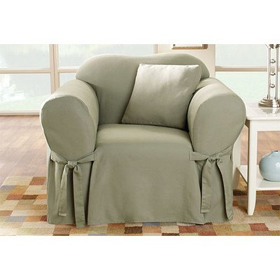 Sure Fit Cotton Duck - Chair Slipcover  - Sage (SF33050) (Upholstery Sage Chair Arm)