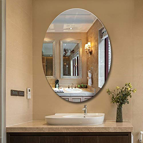 Nclon Oval Hanging Wall Mirror, Frameless Beveled 16