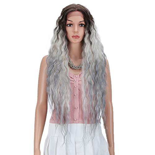 Joedir Lace Front Wigs 30'' Long Wavy Synthetic Wigs For Black Women 130% Density Ombre Black to Gray Wigs with Baby Hair(ST4/GREY/1001B)