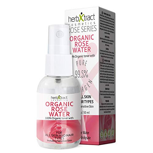 Organic Rose Water Toner + Collagen - 100% Pure Natural Bulgarian Rosewater Hydrosol Face Spray No additives Travel Size 1.7 fl oz ()