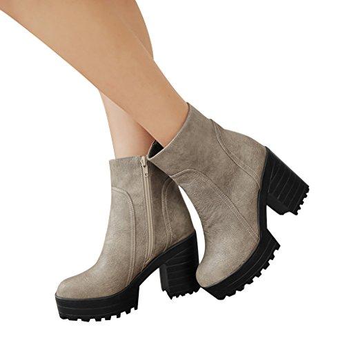 Kära Tid Enkel Plattform Womens Boots Grå