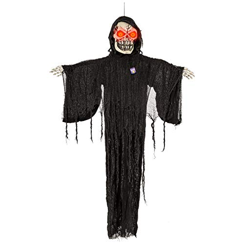 Halloween Haunters Animated Hanging Life-Size Scary Zombie Skull Reaper Speaking with Moving Arms Prop Decoration - Evil Skeleton Face with Red Light Up Eyes - Haunted House Graveyard Party Display -