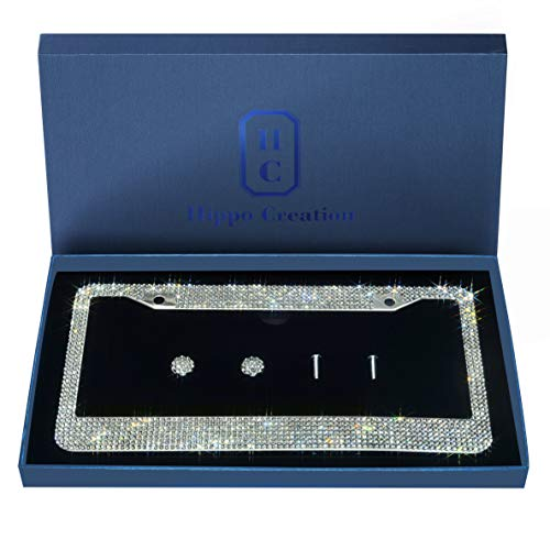 1 Pack Luxury Handcrafted Bling White Rhinestone Premium Stainless Steel License Plate Frame with Gift Box | 1000+ pcs Finest 14 Facets SS20 Clear White Rhinestone Crystal | Anti-Theft Screw Cap (Plate License Bling Bmw Frame)