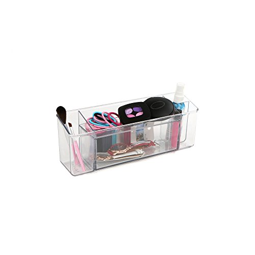 Mind Reader Clear Plastic Makeup and Brush Holder, Holds Jew