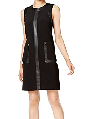 Calvin Klein Women's Shift Faux-Leather Pocket Dress Black 6