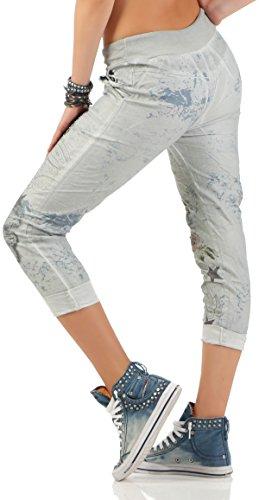 malito Pantalones con la Muestra e Cinta elástica 7558 Mujer Talla Única gris claro