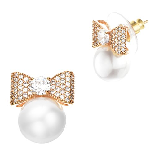 (Buyless Fashion Girls Bow Pearl Stud Earrings Surgical Stainless Steel Gift Box - EDGPBGLD)