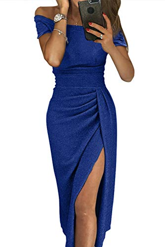 Aleumdr xl Sexy Taglia Vestito 600 S Blu Spalline Senza Abito Donna 6xZw7nrg68