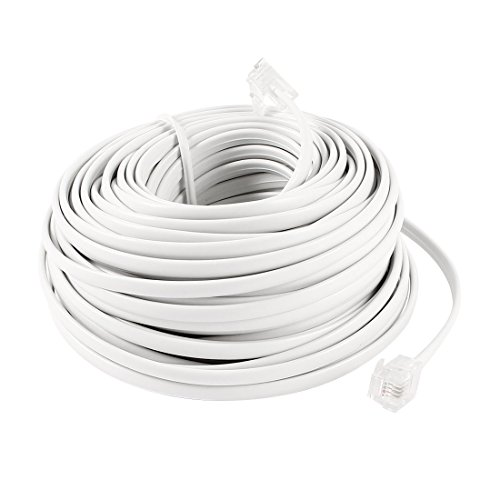 uxcell 18M 60ft RJ11 6P4C Telephone Extension Cable Connector White by uxcell