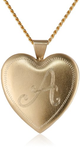 "18k Gold-Plated Initial ""A"" Heart 26mm (1"") Locket Necklace, 24"""
