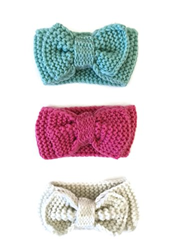 3PCs Baby Knitted Headbands Crochet Head Wraps Knotted Bow Turban Set