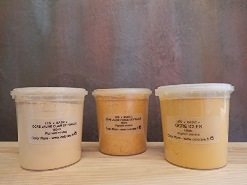 The YELLOW Collection - Pack of 3 Natural Mineral Pigments (150 ml|5OZ EA) Light Yellow Ochre France | Dark Yellow Ochre France | Icles ()
