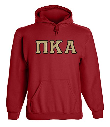 Pi Kappa Alpha Twill Letter Hoody By California Black Plate Maroon Gold Maroon Large