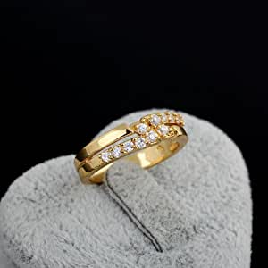 Unisex 18K Gold Bling Crystal Embedded Diamante Finger Ring Wedding Band#8