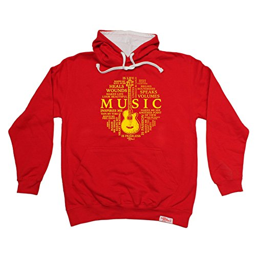 Price comparison product image BM Music Is My Life Guitar Design Band Hoody Acoustic Electric Bass Drums Drummer Mic Album Record Lyrics Birthday Gift Christmas Present 2 TONE HOODIE