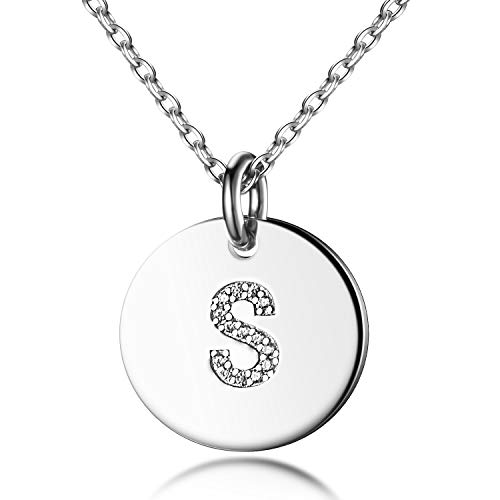(Dainty Disc Initial Necklace S925 Sterling Silver Letters S Alphabet Pendant Necklace Birthday Gift for Sister)
