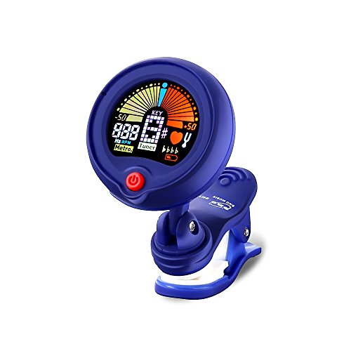 Molshine Clip-On Tuner for Guitar, Chromatic, Ukulele, Bass, Violin& Other Stringed Instruments, Turn 360 Degrees, internal mic (Blue)-Included Battery (EMT-300BL)