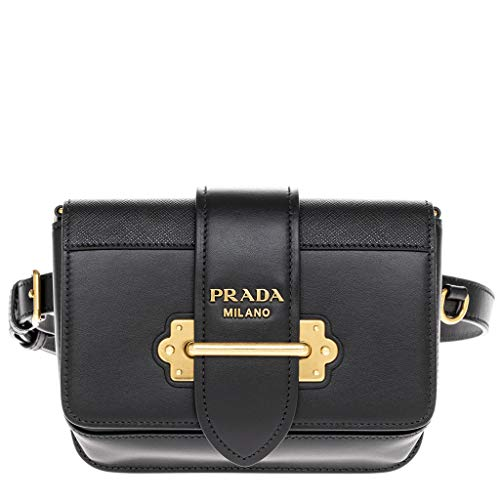 Prada Black Cahier Calf Leather Belt Bag with Chain Shoulder Strap