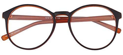 Oversized Big Round Horn Rimmed Eye Glasses Clear Lens Oval Frame Non Prescription (Brown_2 12192)