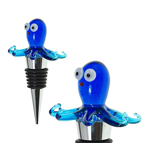 Glass Octopus Wine Bottle Stopper - Decorative, Colorful, Unique, Handmade, Eye-Catching Glass Wine Stoppers - Wine Accessories Gift for Host/Hostess - Wine Corker/Sealer