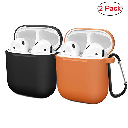 (Compatible AirPods Case Cover Silicone Protective Skin for Apple Airpod Case 2&1 (2 Pack) Black/Orange)