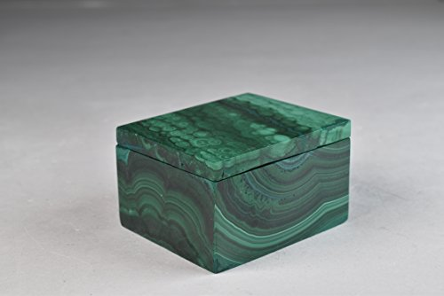 Malachite Jewelry Stash Box Hand Made in Africa 54 mm x 45 mm x 32 mm