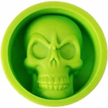 Amknn Halloween Food Grade Silicone Mold Skull Ice Cube Chocolate Candy Handmade Soap Cake Baking Mold (All Code, Green)