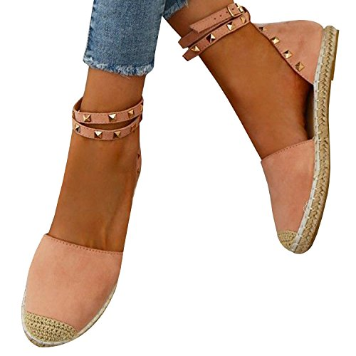 Schnalle rosa Espadrilles Damen Knöchel Flache Schuhe Gemijacka Sommer Sandale Binden 2 Ausgeschnitten Niet Riemen Klassischen AUE6xxwg