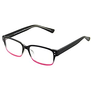 Cyxus Blue Light Blocking [Clear Lens] Computer Glasses, Anti Eye Strain Headache Sleep Better Eyewear Rectangular Frame (Matte Gradient Pink Frame)