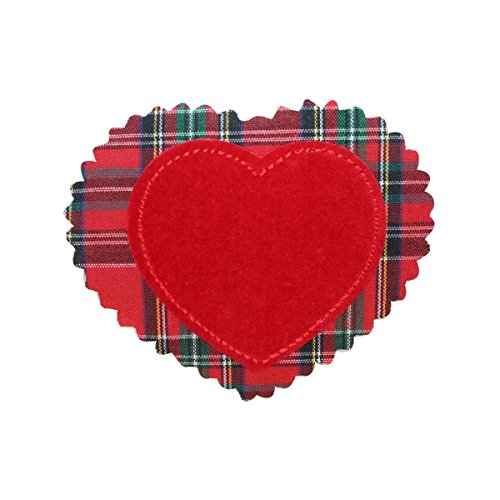 ID 3283C Plaid Felt Heart Patch Valentines Day Love Embroidered Iron On Applique