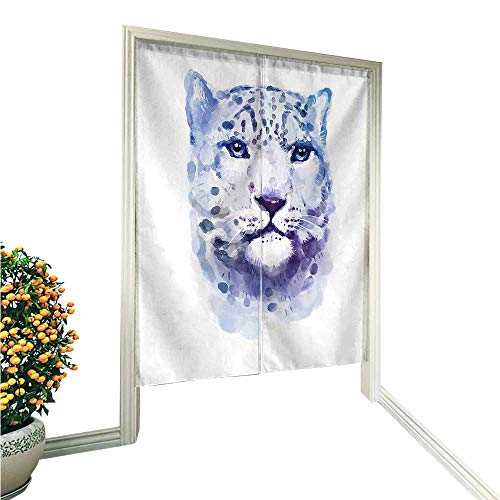 QianHe Noren Doorway CurtainWild Cats Themed Print Watercolor Style Leopard Illustration Jungle Wildlife Violet White Hand or Machine wash in Cold Water 36